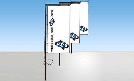 Fahnen und Flaggen - Fahnen und Flaggen für Masten mit oder ohne Ausleger, bedruckt mit Ihrem Logo
